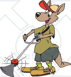 Clipart Illustration of a Kangaroo Landscaper Operating A Weed.