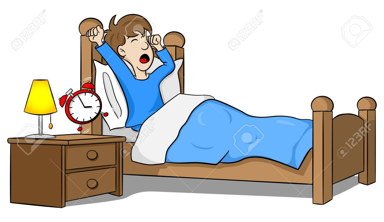 Illustration of a man wakes up in the morning by the alarm clock..
