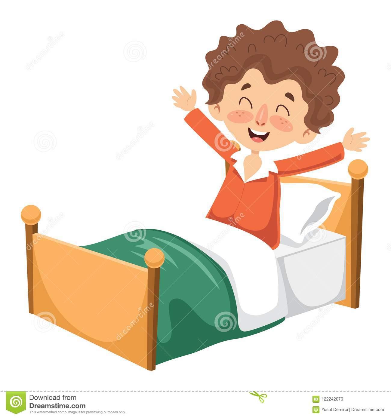 Vector Illustration Of Kid Waking Up Stock Illustration.