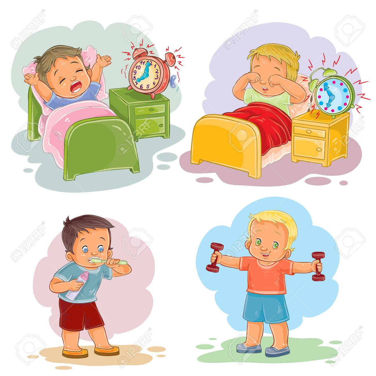 Clip art illustrations of little children wake up in the morning.