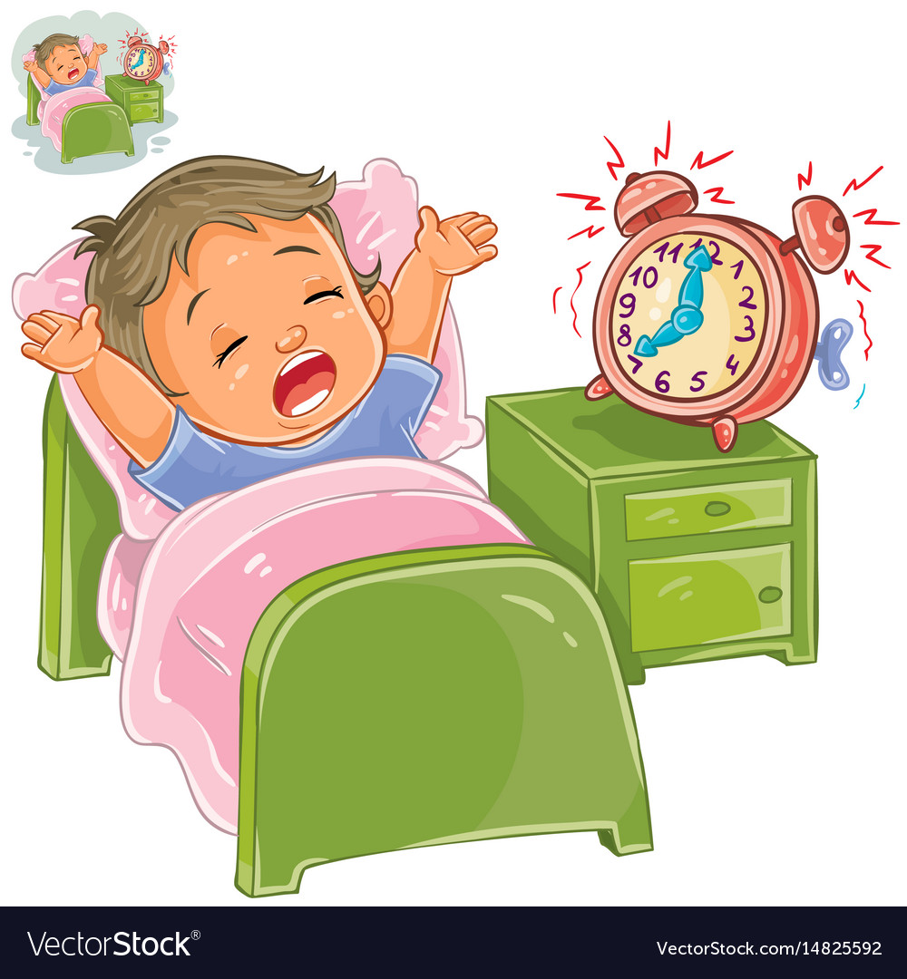 Little child woke up in the morning vector image.