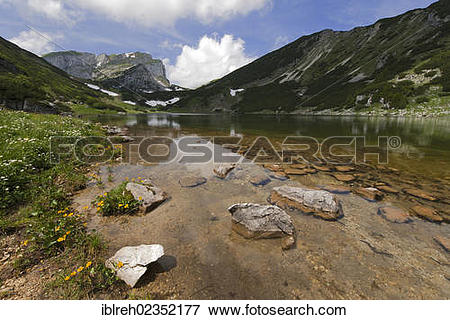 """Picture of """"Brandenberg Alps and lake Zireiner See, Tyrol, Austria."""