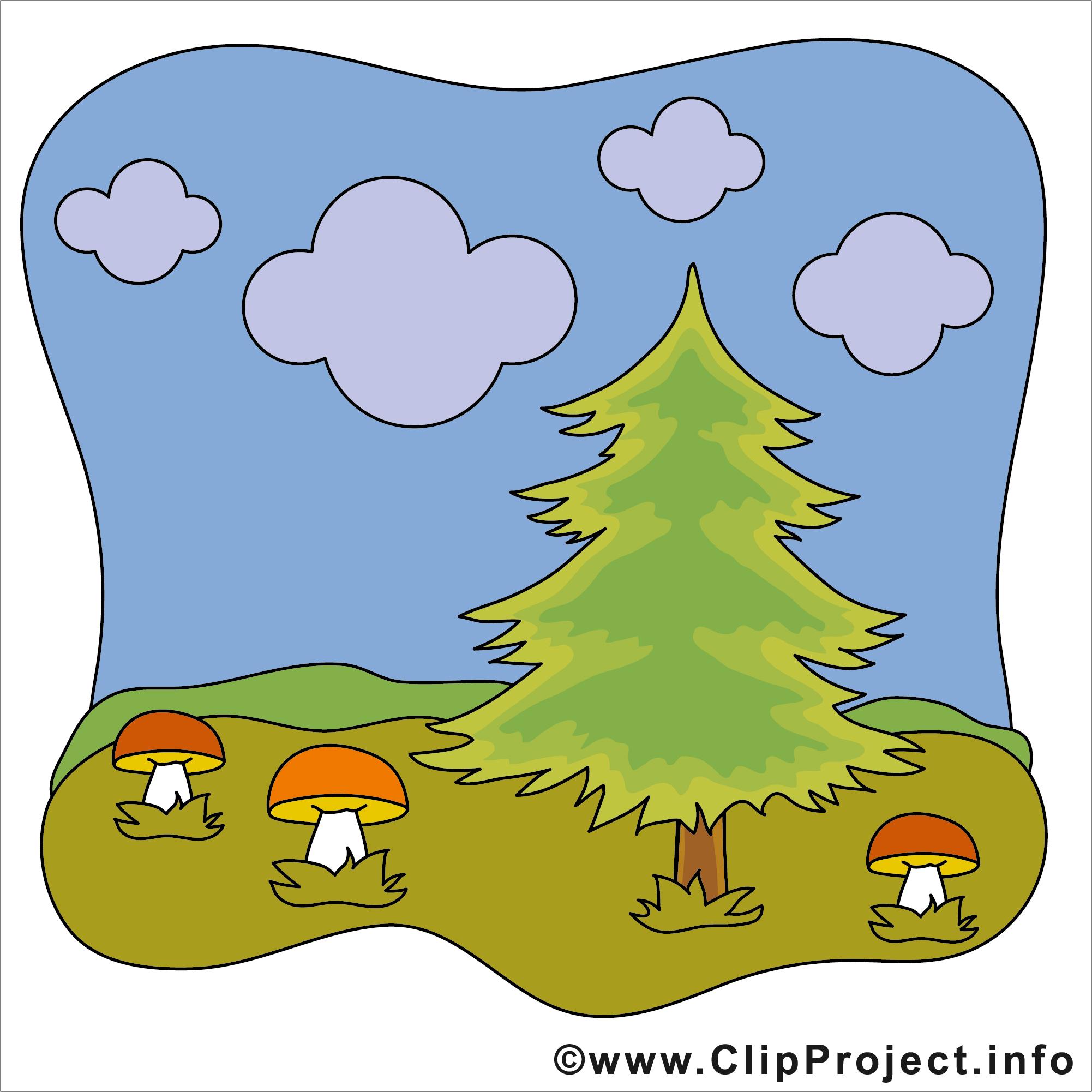Pilze im Wald Clipart.