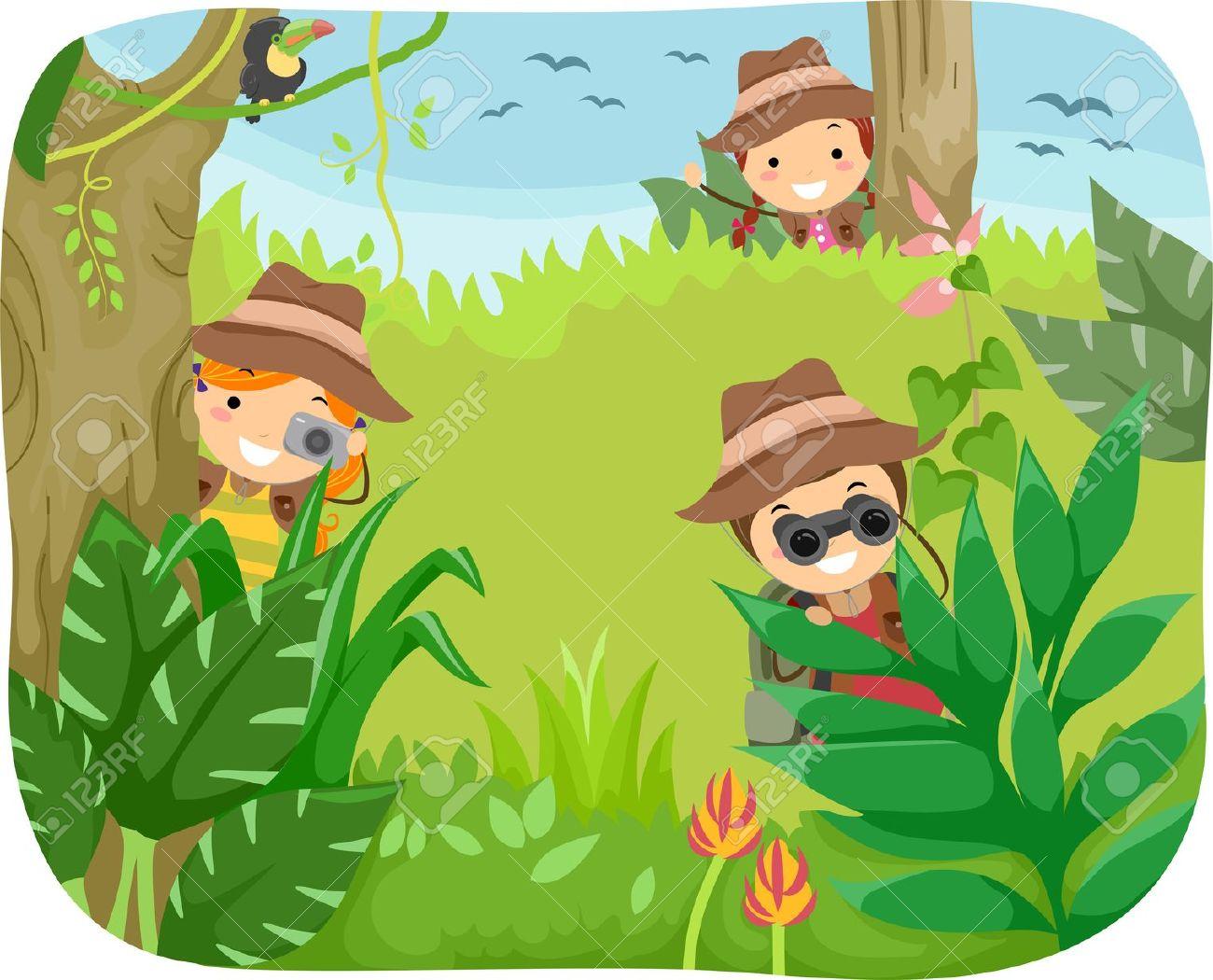 Kinder Im Wald Clipart.