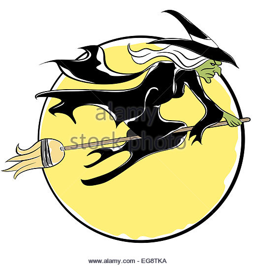 Witch Riding A Broom Stock Photos & Witch Riding A Broom Stock.