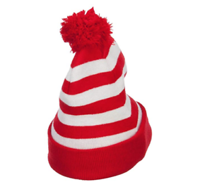 Details about Where's Waldo DELUXE Knit POM Beanie Cap Hat Adult Costume NEW.