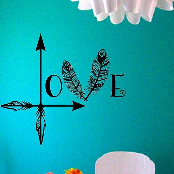 Arrow Feather Love Wall Decal namaste Vinyl Sticker Art Decor.
