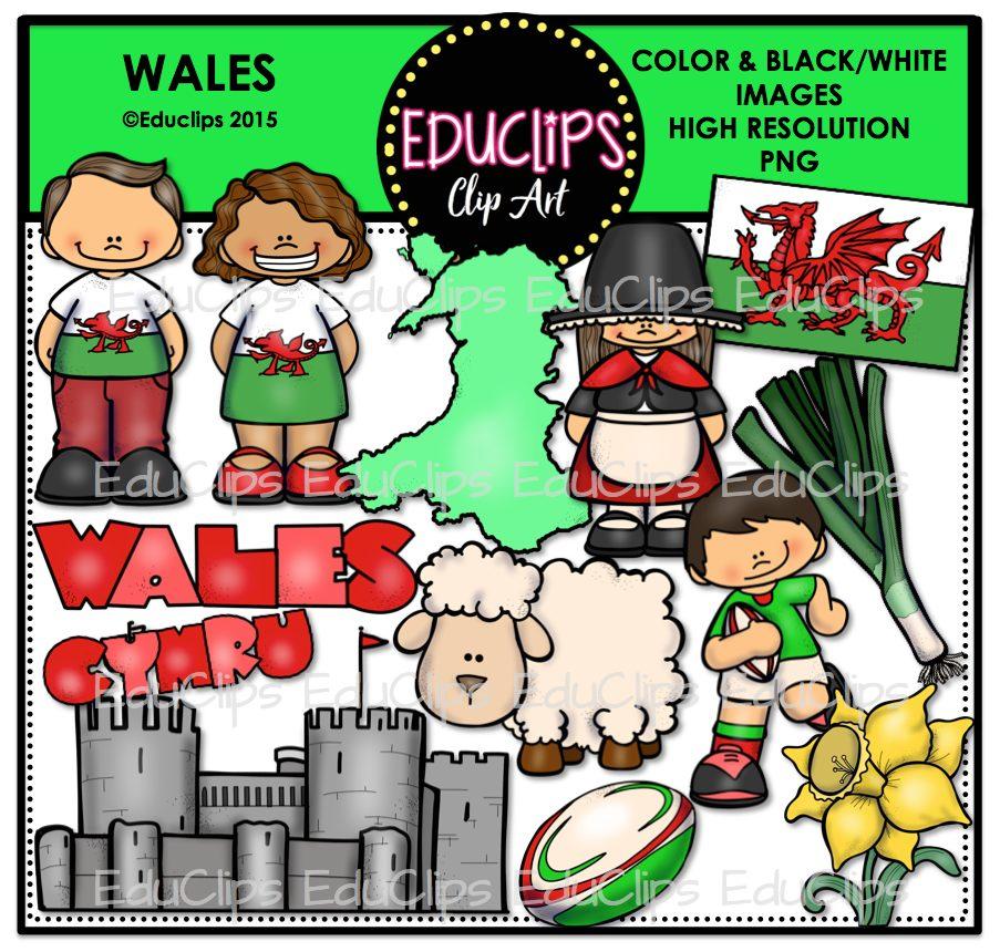 Wales Clip Art Bundle (Color and B&W).