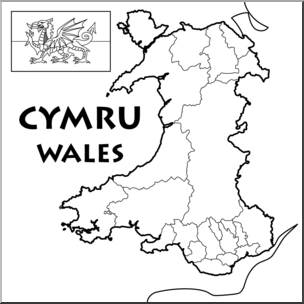 Clip Art: Wales Map B&W Blank I abcteach.com.