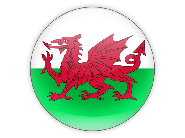 Round icon. Illustration of flag of Wales.