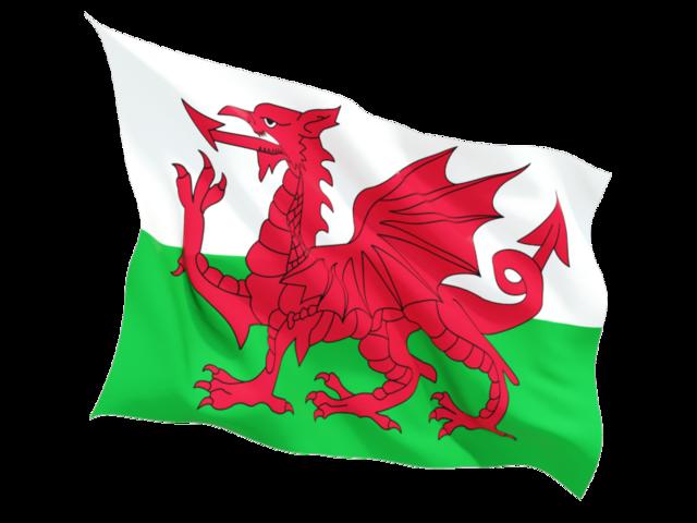 Fluttering flag. Illustration of flag of Wales.