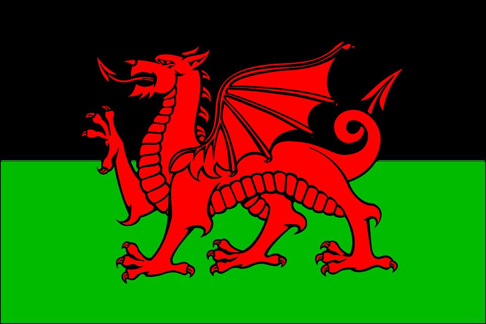 Welsh Flag Drag National Symbol.