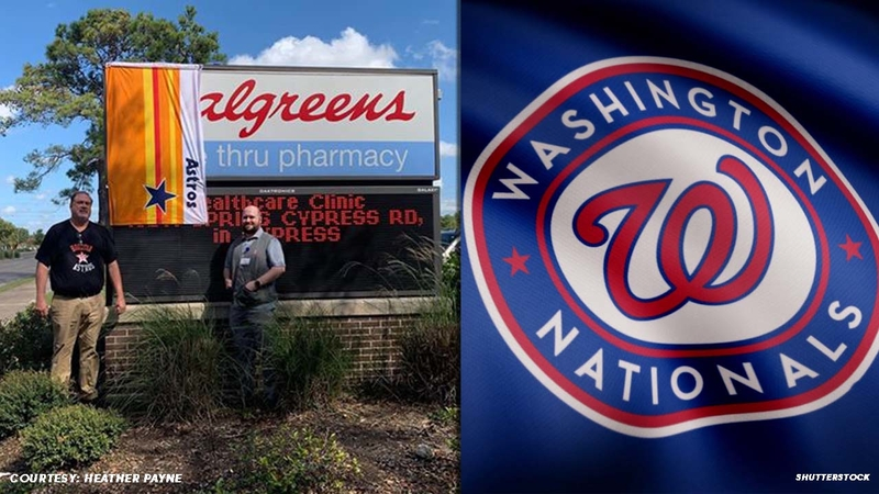 Astros fans cover \'W\' in Walgreens because it looks too close to Nationals  logo.