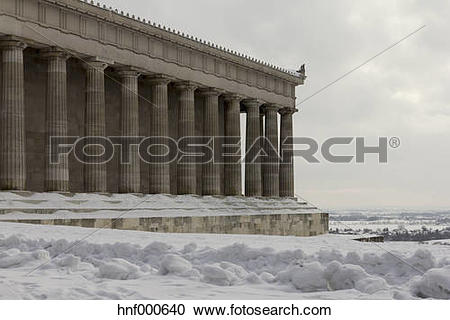 Stock Photography of Germany, Bavaria, view to Walhalla in winter.