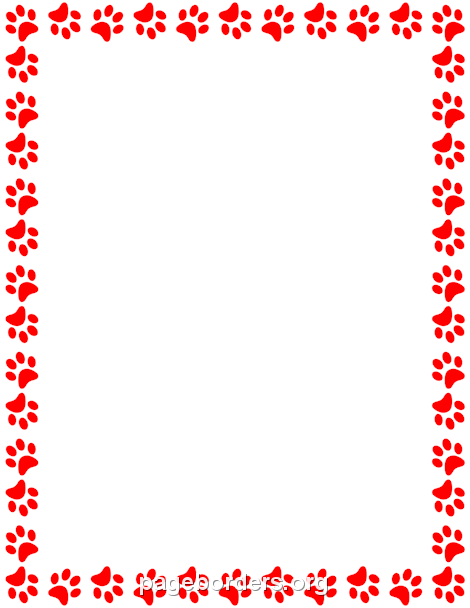 Red Paw Print Border.