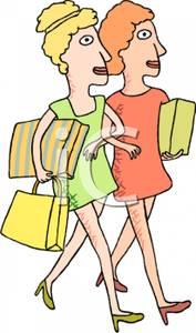 Two Women Walking Arm In Arm Carrying Shopping Bags.