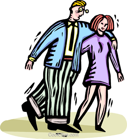 couple walking arm in arm Royalty Free Vector Clip Art.