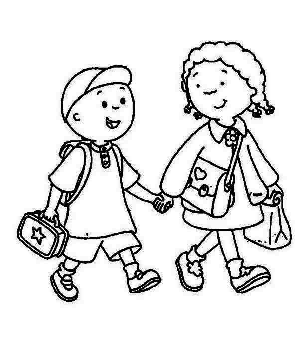 Walk To School Clipart Black And White.