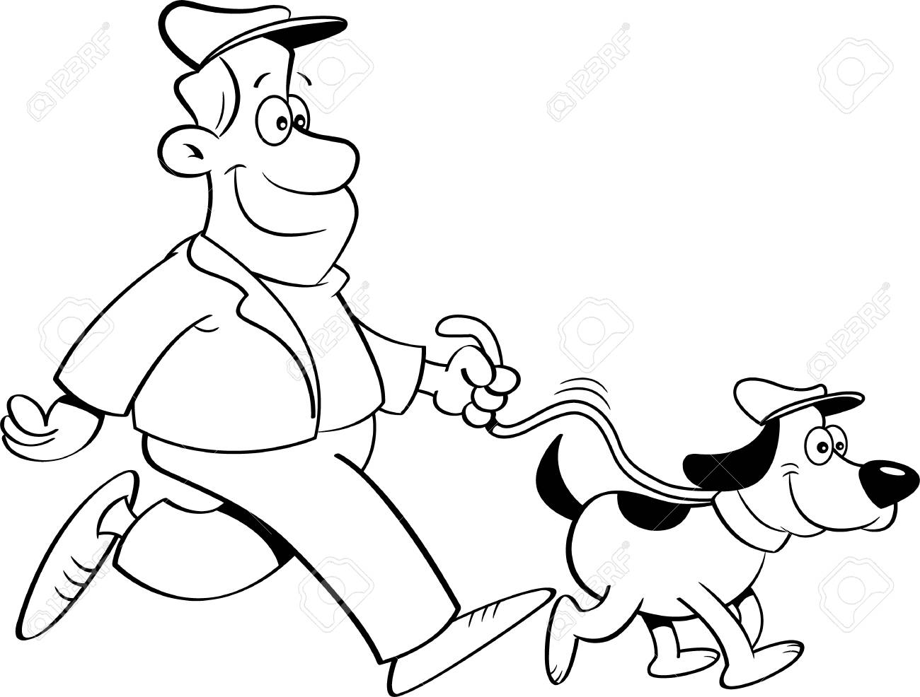 Black and white illustration of a man walking a dog..