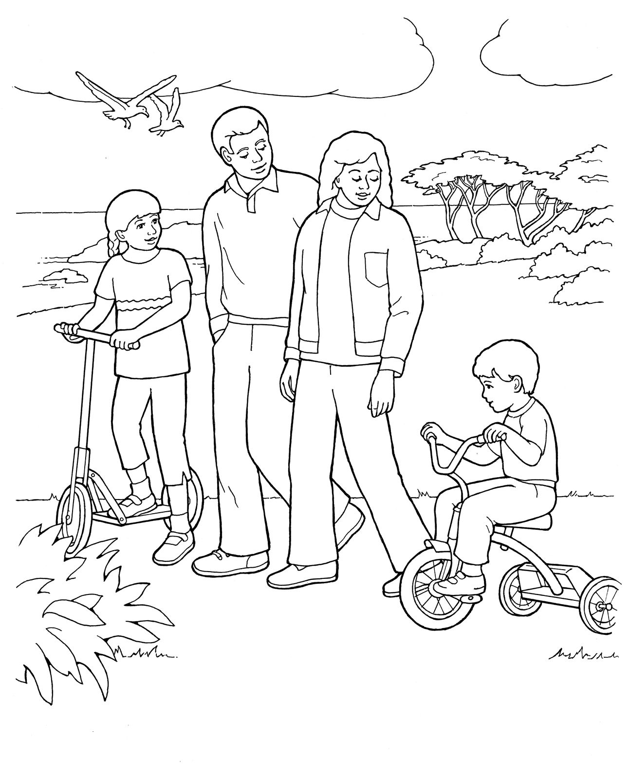 Primary coloring page. Family walking together #ldsprimary.