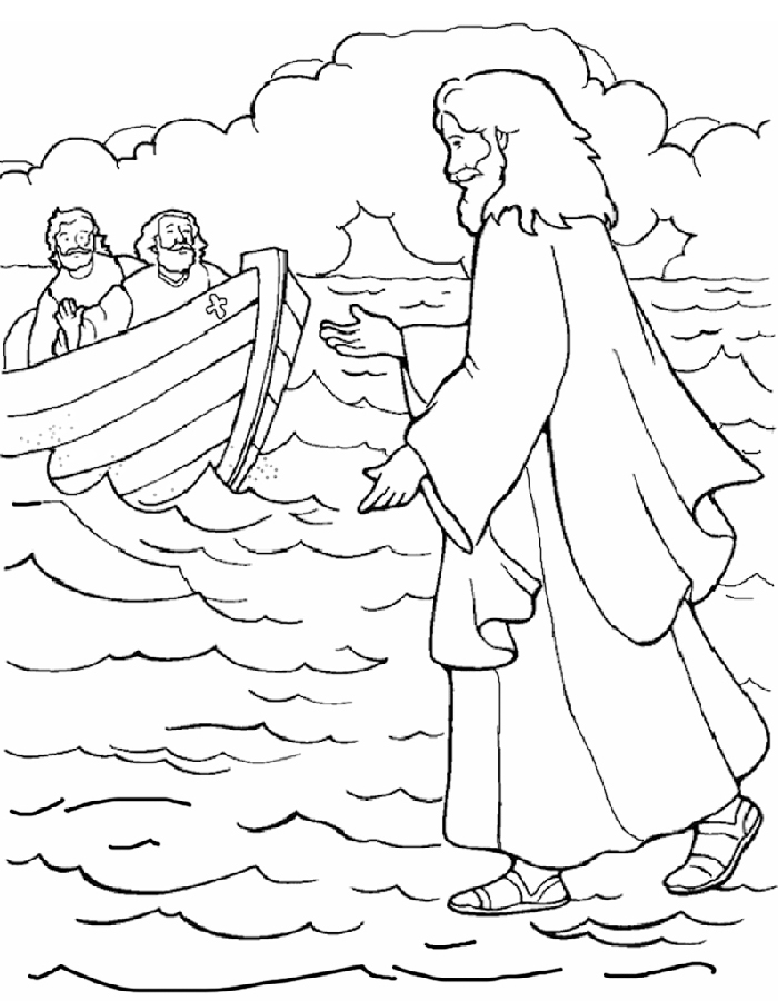 Coloring Pages Jesus Walks On Water.