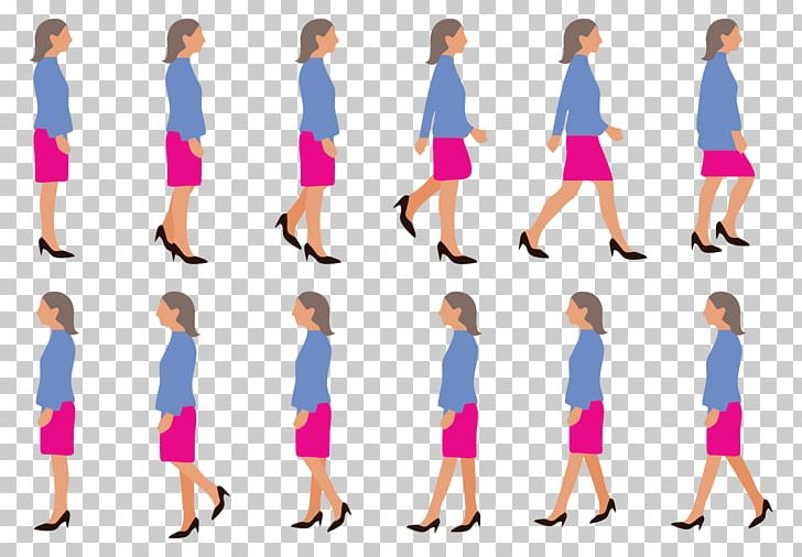 Walk Cycle Walking Woman PNG, Clipart, Abdomen, Animation, Arm, Art.