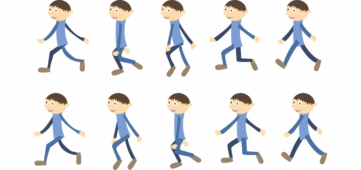 Walking animation.