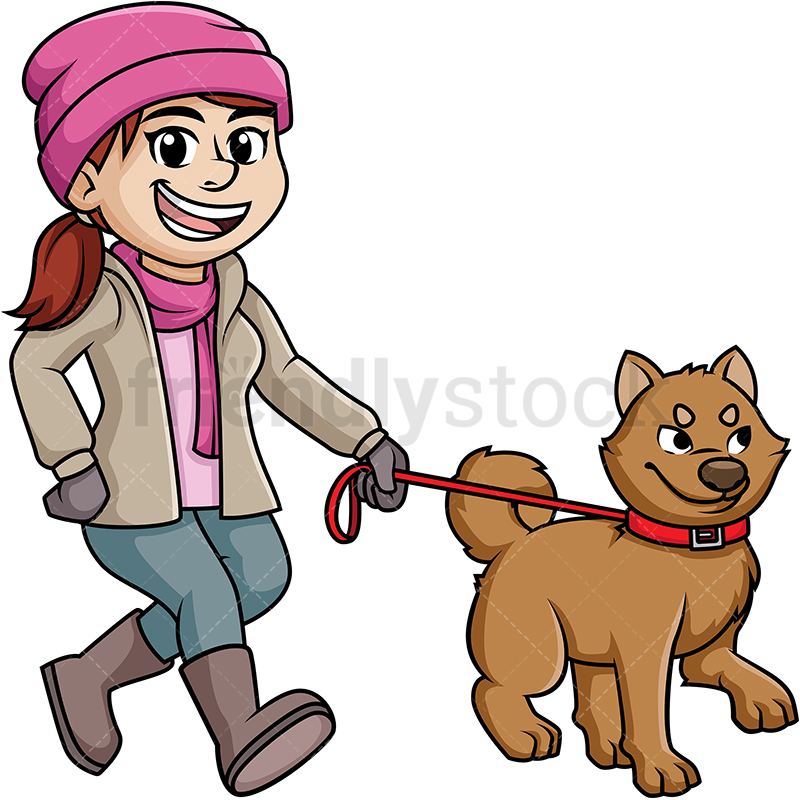 Woman Walking Her Dog In The Winter.