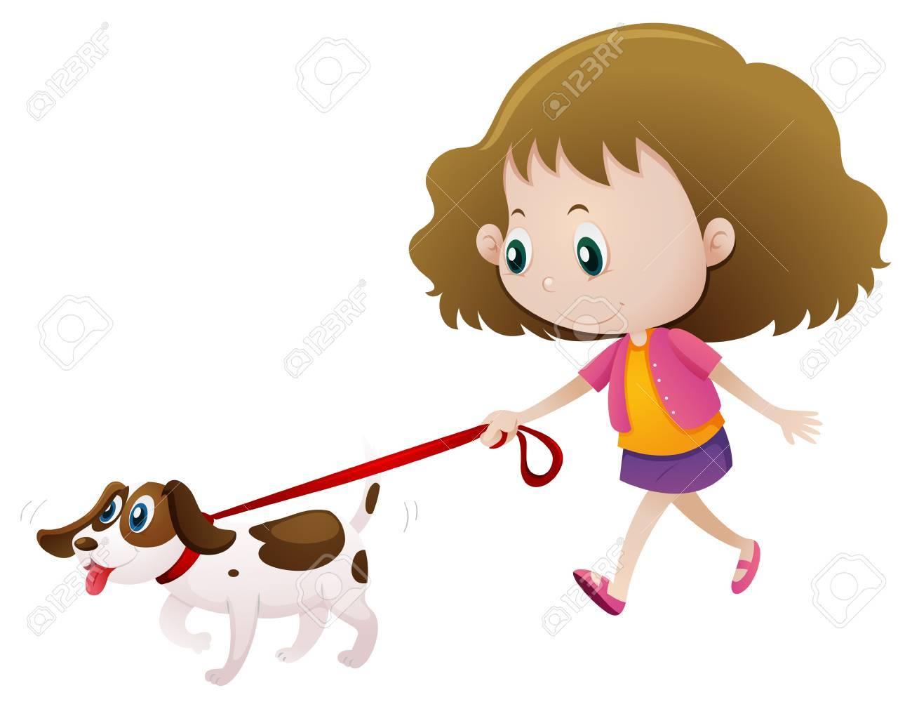 Girl walking dog alone illustration.