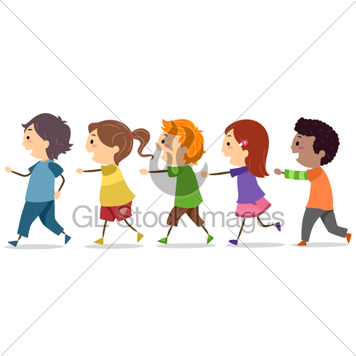 Kids Walking In One Line · GL Stock Images.