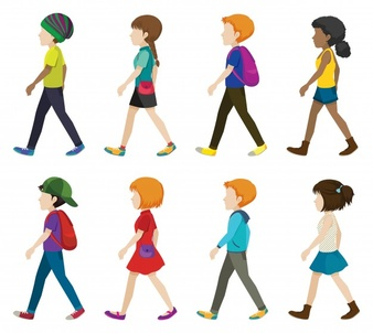 Children Walking In Line Clipart.