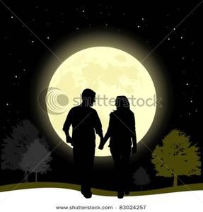 Couple In Love Walking In a Full Moon Night.