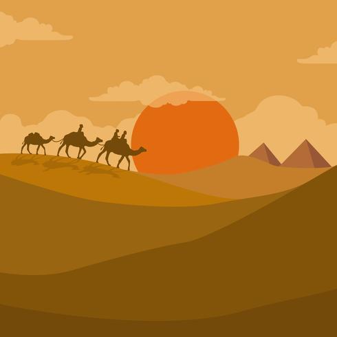 Illustration Of Nomad Walk In The Desert.