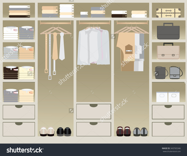 Flat Design Walk Closet Interior Design Stock Vector 343765346.