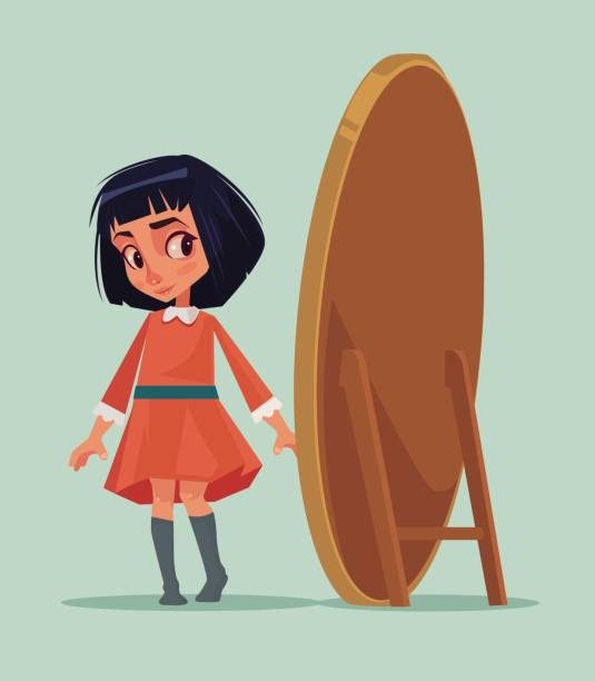 Girl Looking Into Mirror Clipart.