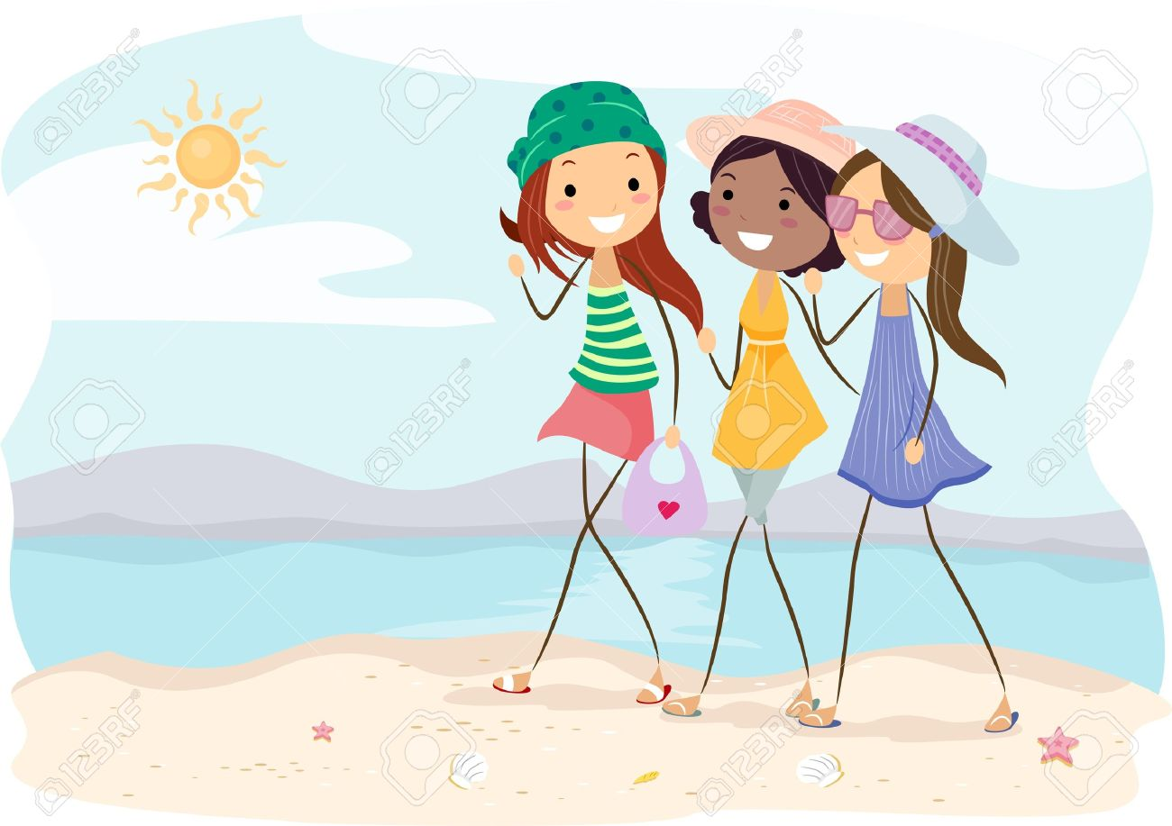 Illustration Of Girls Walking On The Beach Stock Photo, Picture.