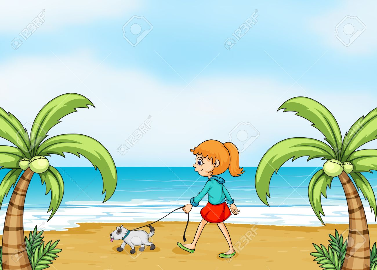 Walking On the Beach Clip Art.