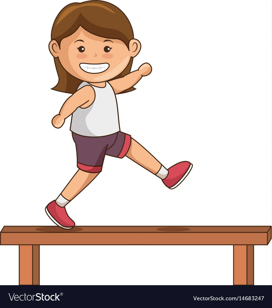 Little girl athlete character Royalty Free Vector Image.