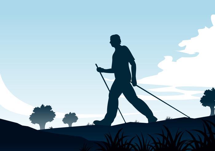 Nordic Walking Silhouette Free Vector.