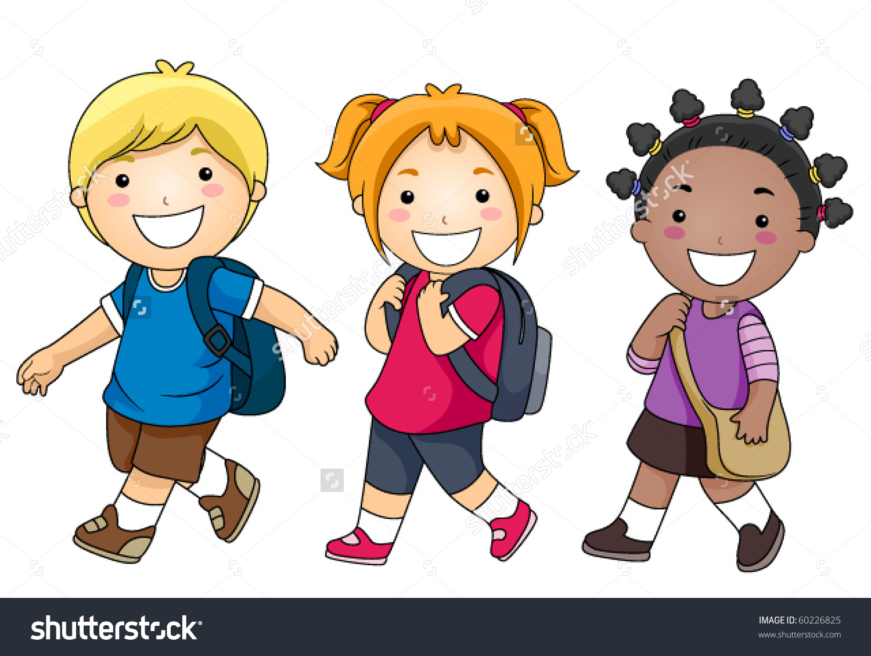 Children Walking To School Clipart.