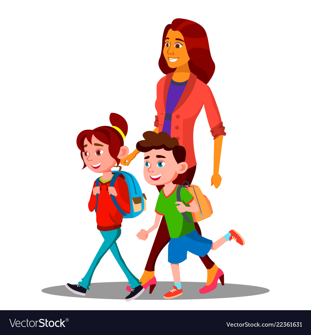 Mother walking to school with children in new.