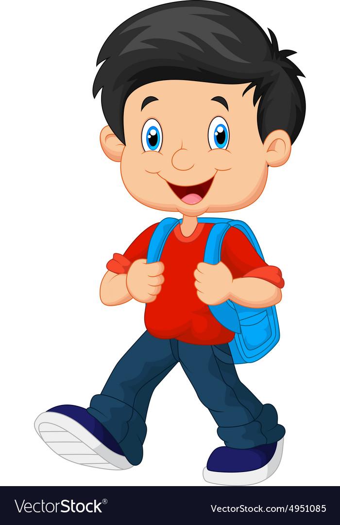 School boy cartoon walking.