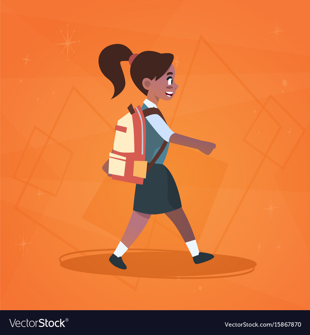 African american girl pupil walking to school.