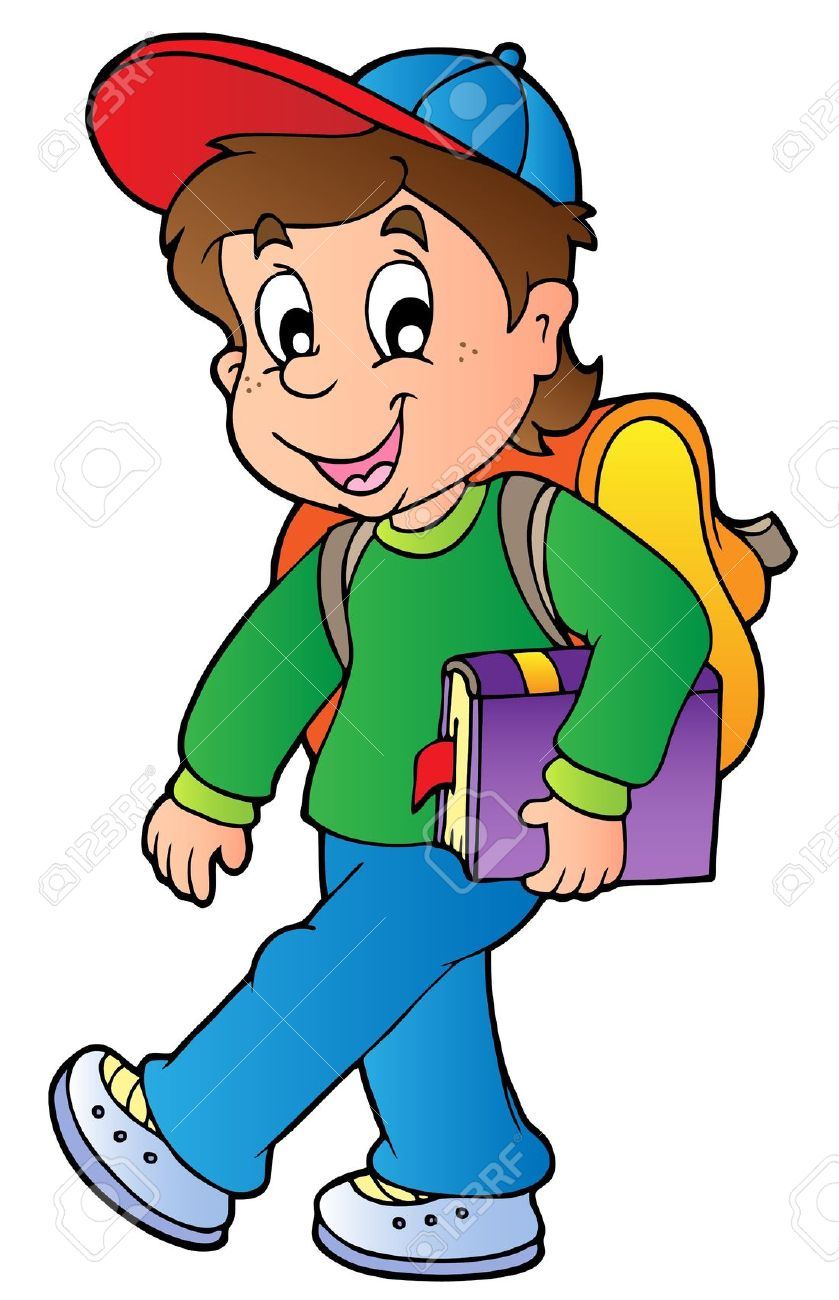 Child Walking To School Clipart.