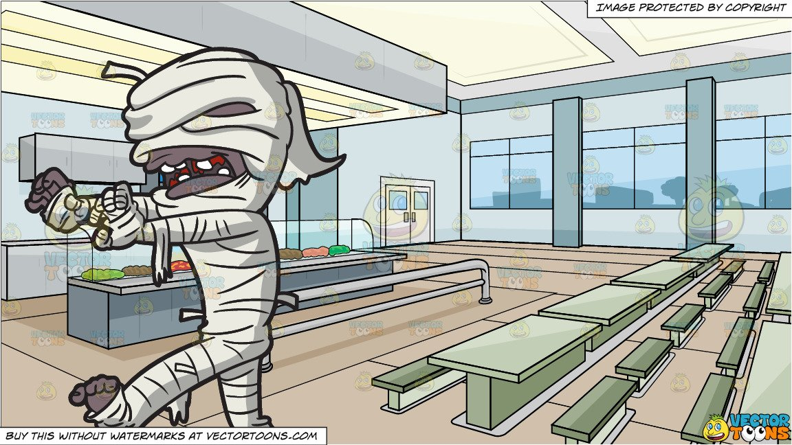 A Creepy Mummy Walking and High School Cafeteria Background.