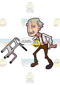 A Grandpa Dancing And Swinging With His Walker.