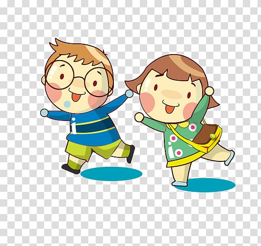 Cartoon , child, illustration of boy and girl walking.
