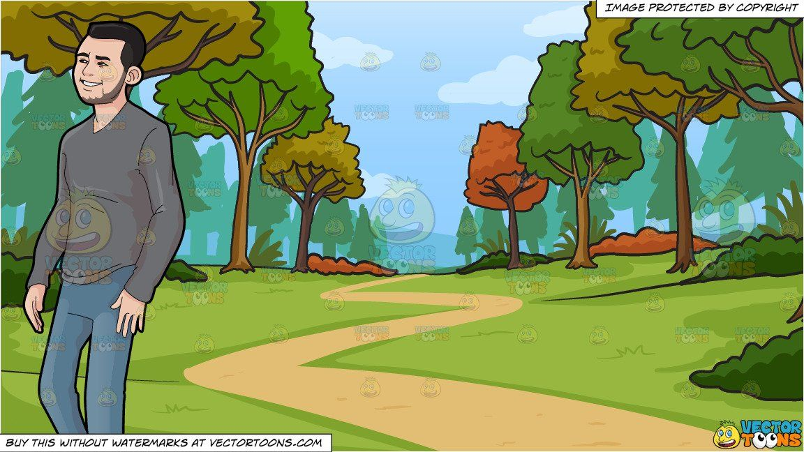 clipart #cartoon A Casual Guy Walking Around and Path.