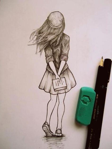 drawing of someone walking away.