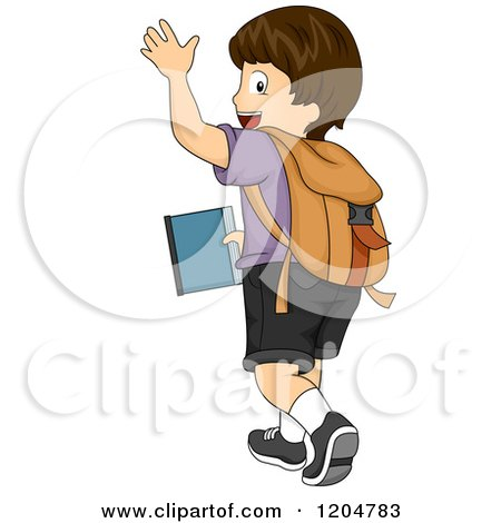 Cartoon of a Waving Brunette White School Boy Walking Away.